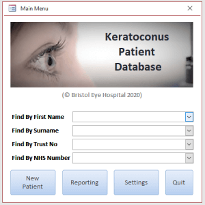 Access database dialog database for Keratoconus Audit database.
