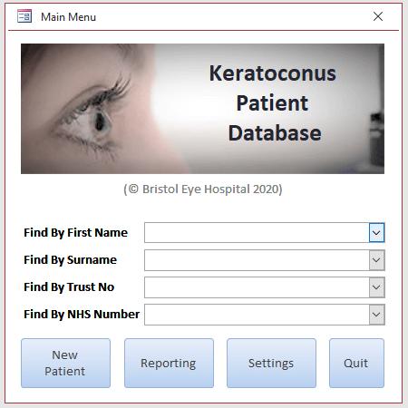 Access database dialog database for Keratoconus Audit database.